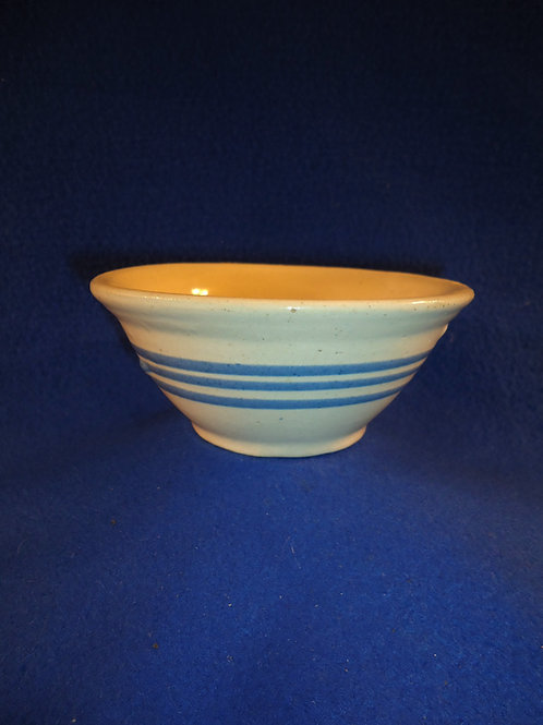 "Small 5"" Blue and White Stoneware Bowl with 3 Blue Slip Stripes"