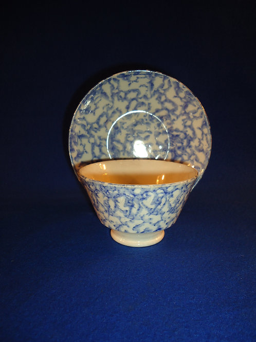 Circa 1830 Blue and White Spongeware Handleless Cup and Saucer