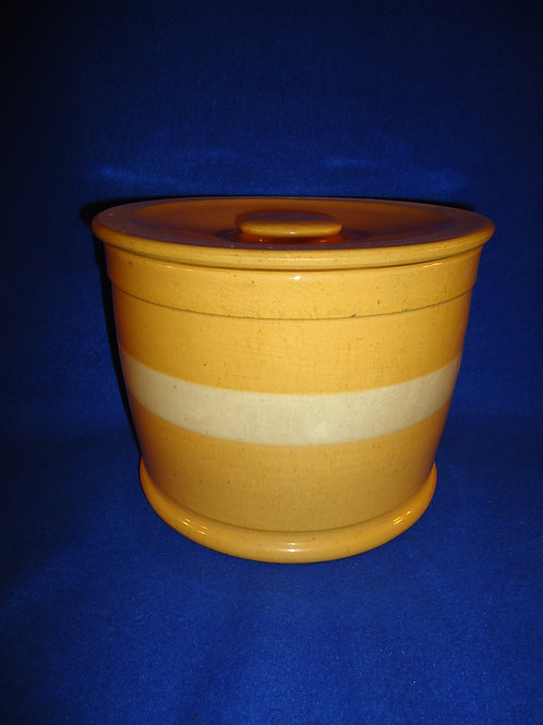 Large Yellow Ware Lidded Butter Crock with Wide White Slip Stripe #4690