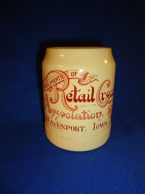 Retail Grocers Association, 1909, Davenport, Iowa, Stoneware Mug