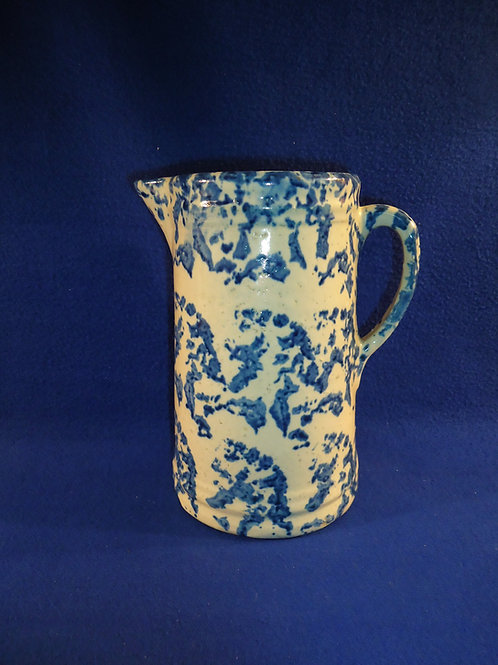 Blue and White Stoneware Spongeware Pitcher with Bold Sponging  #4429
