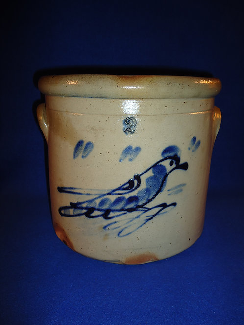 2 Gallon Stoneware Crock with Songbird, att. Somerset Potters Works, Mass.