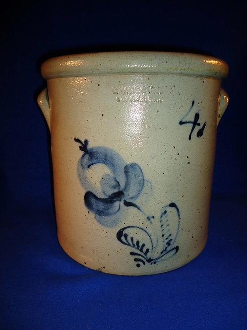 C. W. Braun, Buffalo, New York Stoneware 4 Gallon Crock with Tulip
