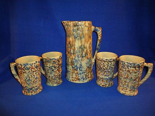 Spongeware Stoneware Beverage Set, 1931, R.R.P. Co., Roseville, Ohio, #4834