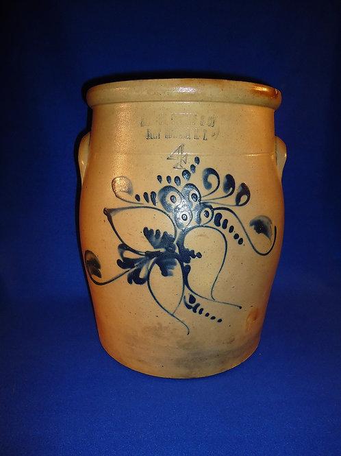 Haxstun, Ottman, Fort Edward Stoneware 4 Gal. Cream Pot with Floral