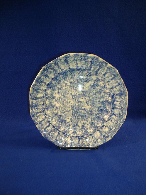 "Blue and White Spongeware Stoneware Plate, 8 1/2"""