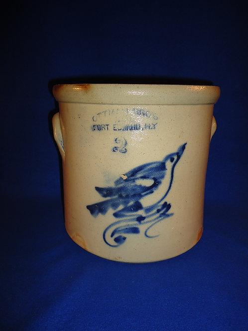 Ottman Bros., Fort Edward, New York Stoneware 2 Gallon Crock with Bluebird