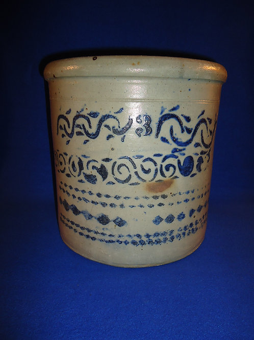 Special 3 Gallon Stoneware Crock from SW Pennsylvania with Lots of Decoration