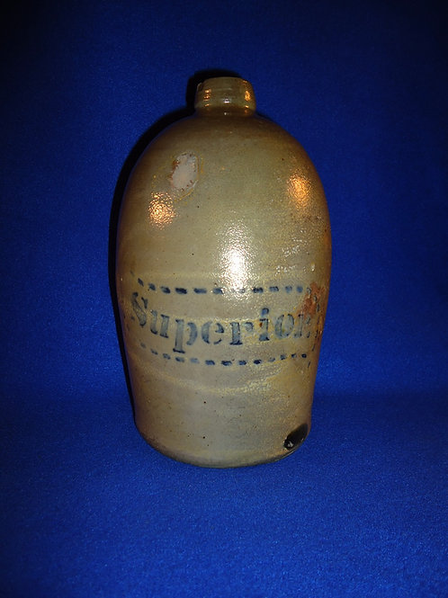 """Superior"" 1/2 Gallon Stoneware Jug by Donaghho of Parkersburg, West Virginia"
