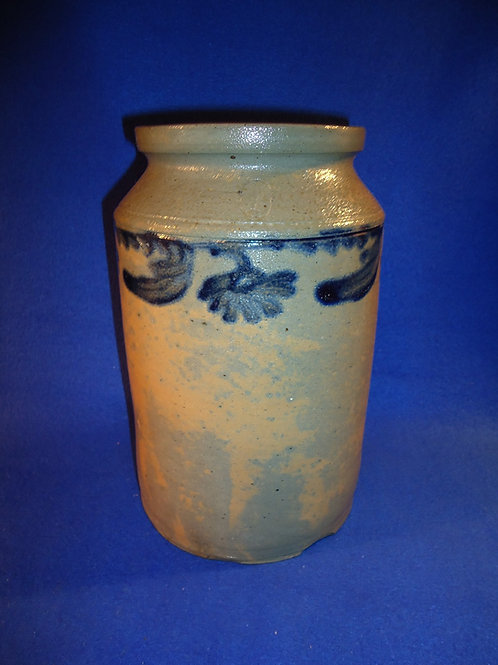 Circa 1840 Philadelphia, Pennsylvania Stoneware 1 Gallon Jar with Tulips