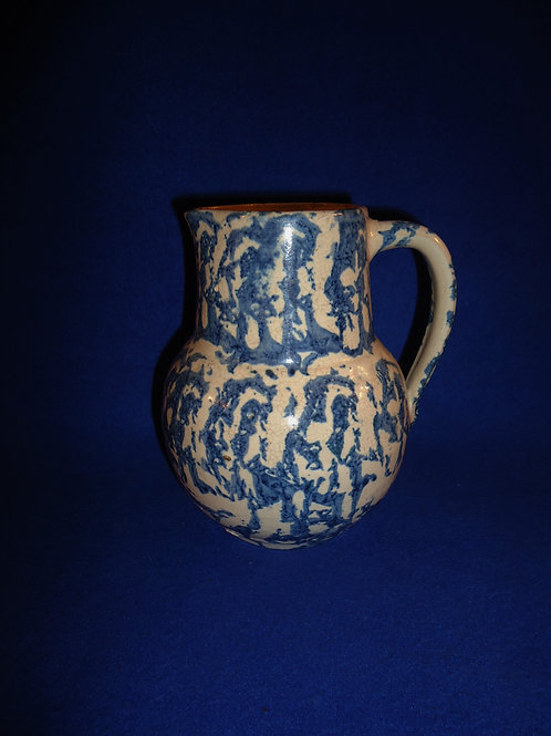 """6 1/2"""" Blue and White Spongeware Pitcher by Uhl, #4898"""