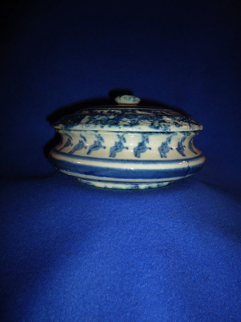 Blue and White Spongeware Stoneware Covered Soap Dish #5506