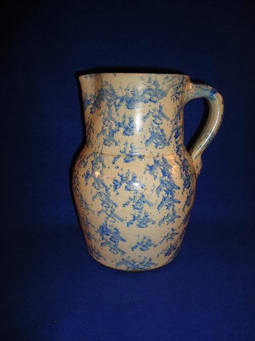 Blue and White Spongeware Stoneware 1 Gallon Pitcher #4534