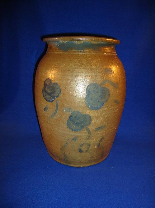 Pruntytown, West Virginia 3 Gallon Stoneware Jar with Florals, #4729