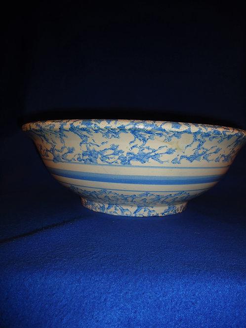 Late 19th Century Blue and White Spongeware Stoneware Wash Bowl #5012