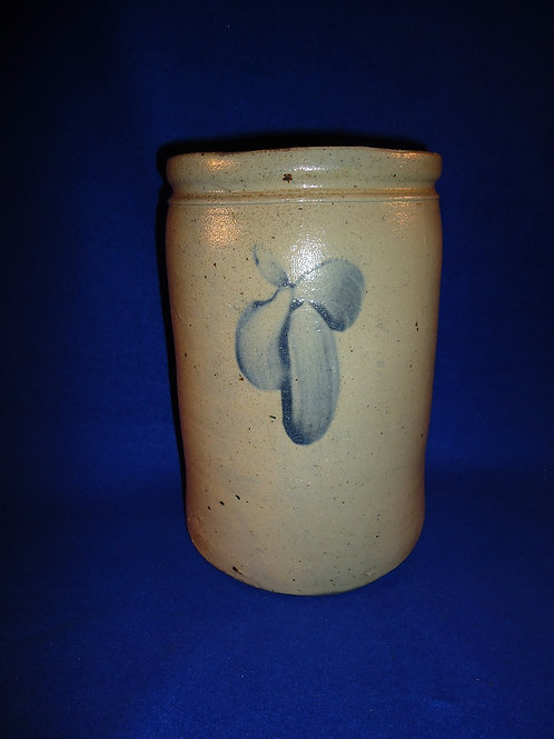 """Circa 1870 Baltimore, Maryland 10"""" Stoneware Canner with Clovers"""