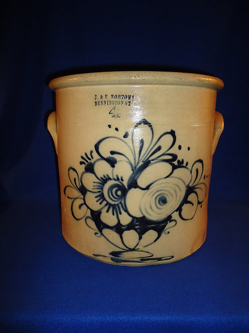 J. & E. Norton, Bennington, Vermont Stoneware 4 Gallon Crock with Urn of Flowers