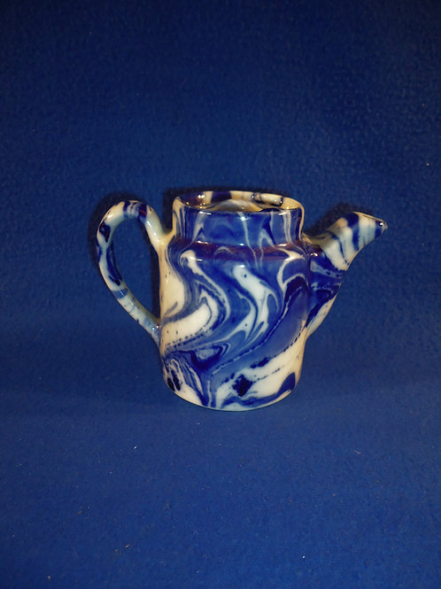 Shenango China, New Castle, Pennsylvania Blue and White Teapot, Marblized