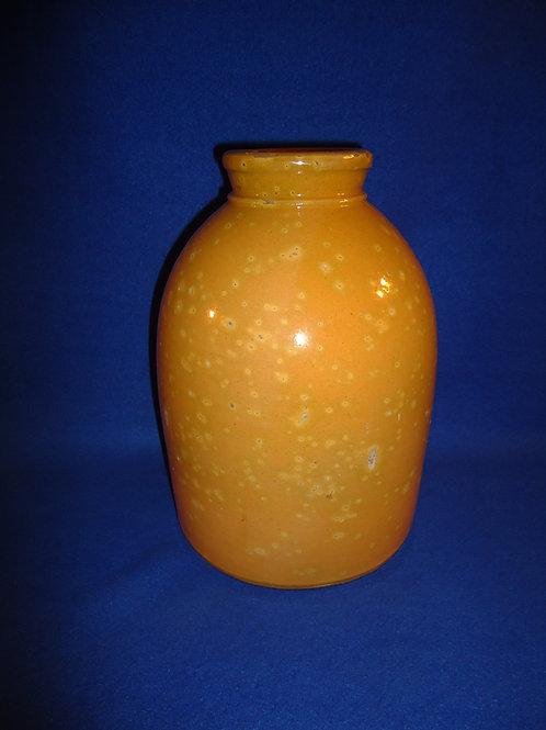 19th Century Ontario, Canada Redware Jar, Pumpkin Orange #5870