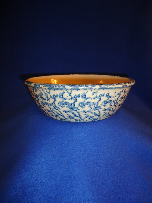 Blue and White Spongeware Stoneware Vegetable Serving Bowl #5245
