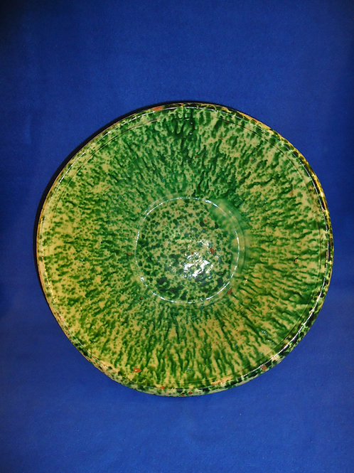 """19th Century Large 15"""" Redware Bowl with Flow Green Sponging, att. PA or OH"""