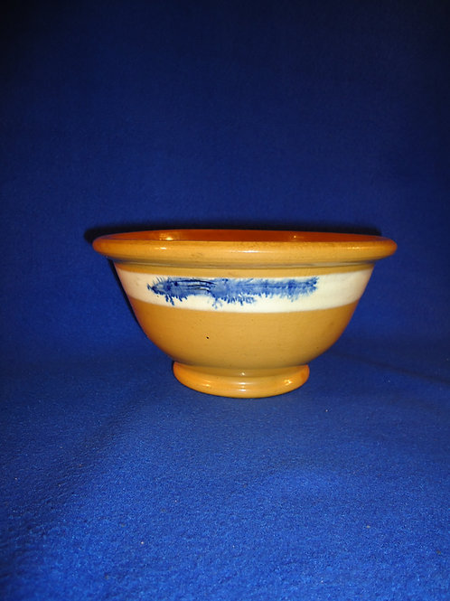 """19th Century Yellow Ware 4"""" by 8"""" Bowl with Blue Mocha Seaweed Decoration"""