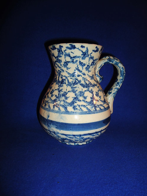 Blue and White Spongeware Stoneware Hot Water Pitcher with Stripes #5019