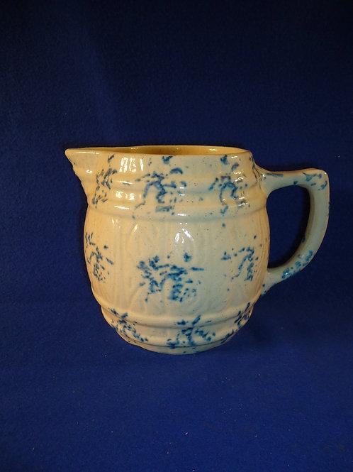 Blue and White Spongeware Stoneware Barrel Pitcher