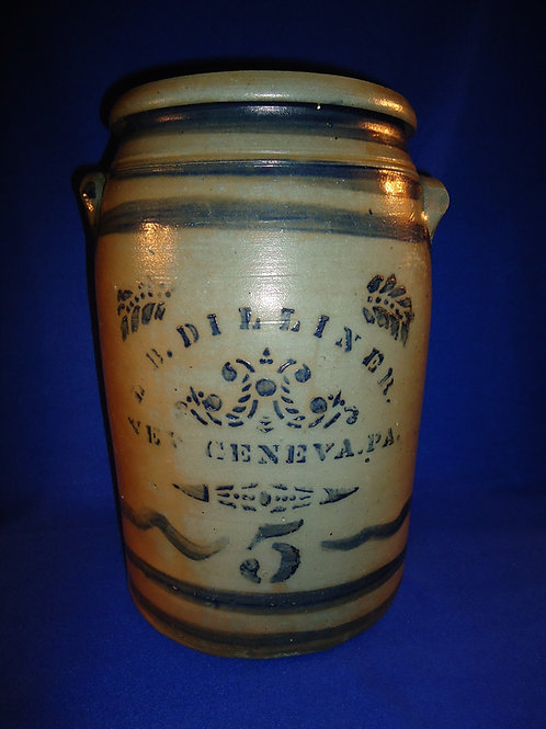 L. B. Dilliner, New Geneva, Pennsylvania Stoneware Decorated 5 Gallon Jar