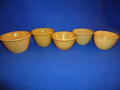 5 Yellow Ware Custard Cups for 1 Money, #4701