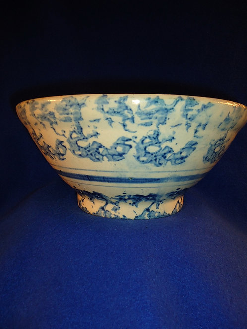"Blue and White Stoneware Spongeware 11"" Striped Bowl"