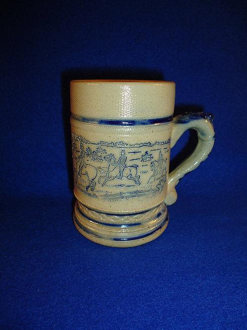 "Whites Pottery of Utica, New York Stoneware 4 1/2"" Mug with Fox Hunt Scene"