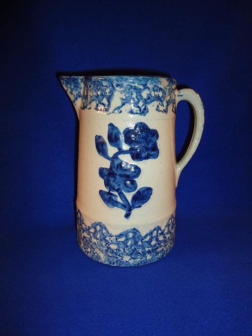 Blue and White Stoneware Spongeware Wild Rose Pitcher