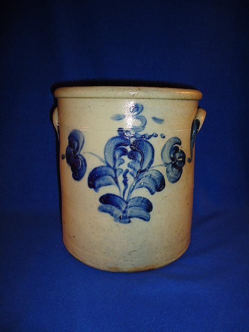 Circa 1870 3 Gallon Stoneware Crock with Double Tulips from Ohio