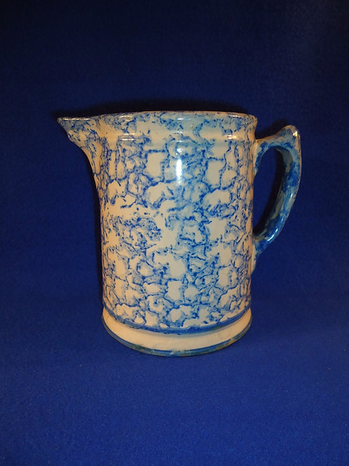 "Blue and White Spongeware Stoneware 6 1/4"" Pitcher"