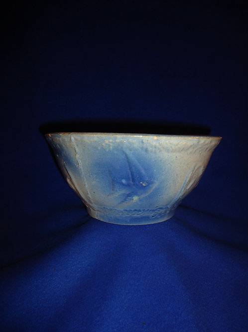 "Blue and White Stoneware Flying Birds Bowl, 8 1/2"" #5261"