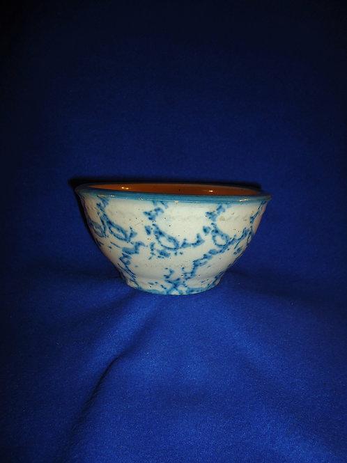 "Small 6"" Blue and White Spongeware Stoneware Bowl, Chickenwire, #4910"