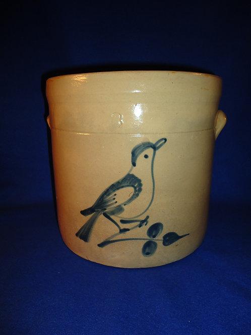 Fulper Pottery, Flemington, New Jersey 3g Stoneware Crock with Bluebird
