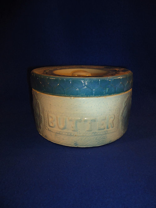 Blue and White Stoneware Butter Crock in the Apricot and Honeycomb Pattern