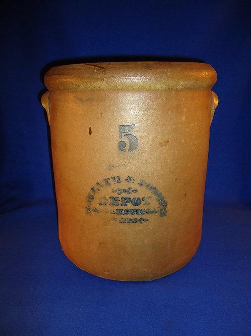 Howarth & Bowers, Crooksville, Ohio 5 Gallon Stoneware Crock