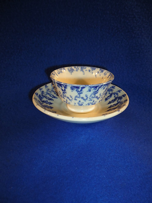 Toy Staffordshire Blue and White Spongeware Cup and Saucer