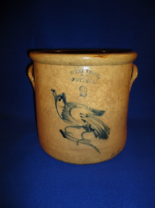 West Troy Pottery, 2 Gallon Crock with Bird on a Branch, #4892