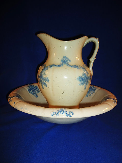Blue and White Drape and Tassel Spongeware Stoneware Pitcher and Bowl #4492