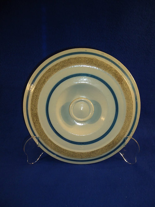 """Blue and White Striped Stoneware Water Cooler Lid 11"""" #5379"""