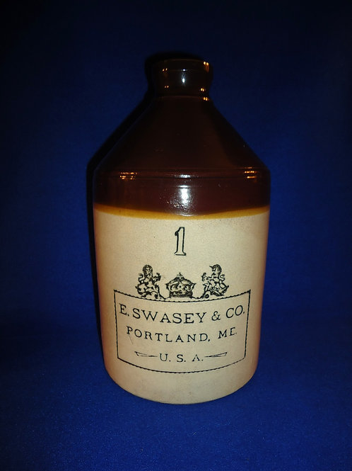 E. Swasey, Portland, Maine, Stoneware 1 Gallon Jug