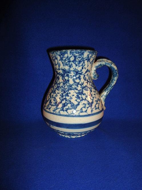 Blue and White Spongeware Stoneware Hot Water Pitcher #5248