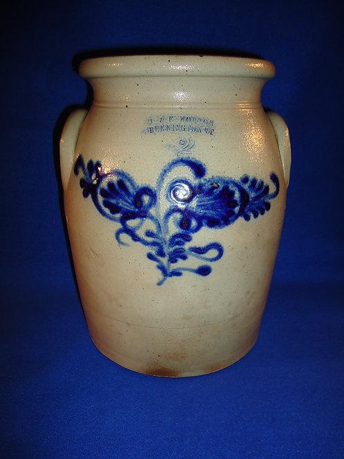 J. & E. Norton, Bennington, Vermont Stoneware 2 Gallon Jar with Double Thistles