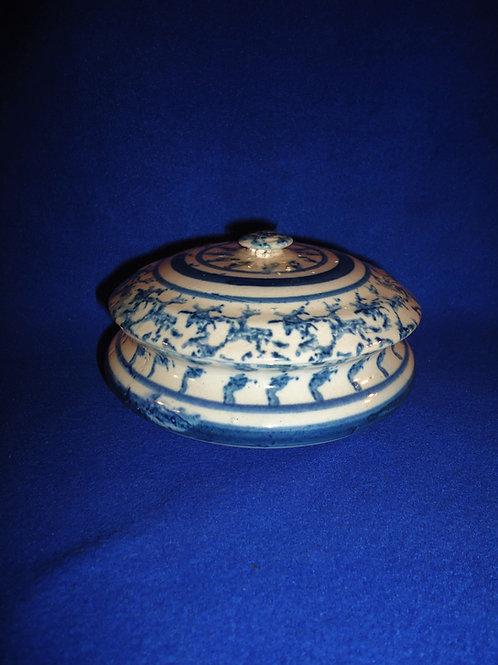 Blue and White Spongeware Stoneware Covered Soap Dish, #4875