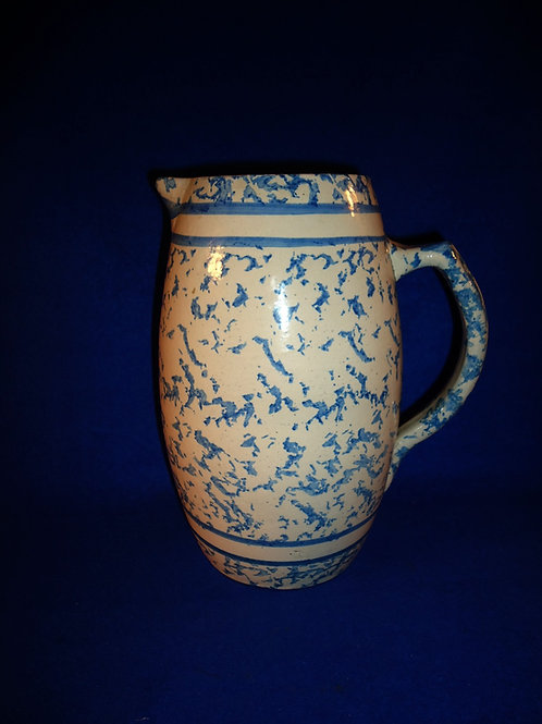 Blue and White Spongeware Stoneware Pitcher with Cobalt Bands