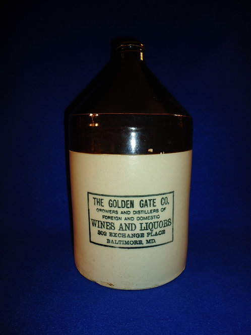 Golden Gate Wines and Liquors, Baltimore, Maryland Stoneware Jug